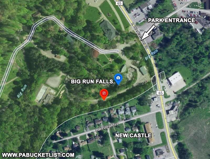 How to find Big Run Falls in New Castle Pennsylvania