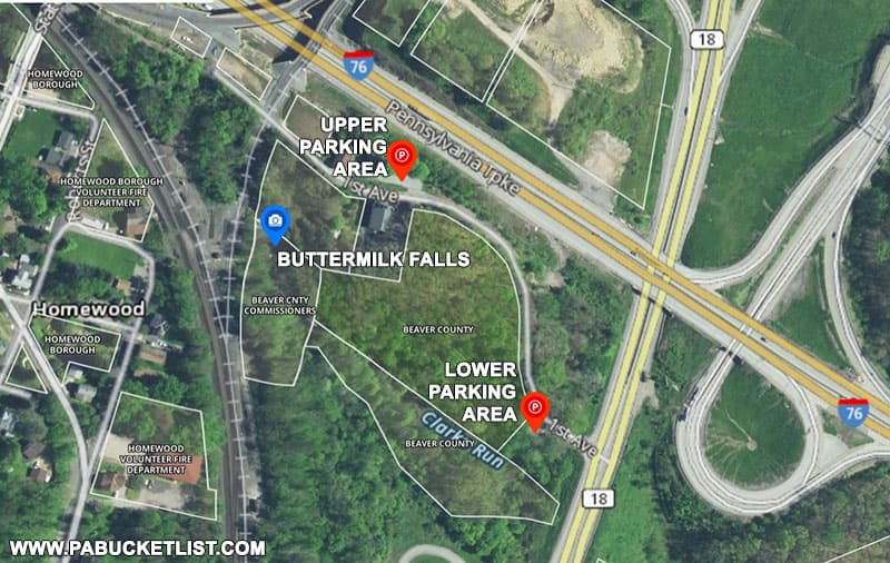 A map to Buttermilk Falls in Beaver County Pennsylvania.