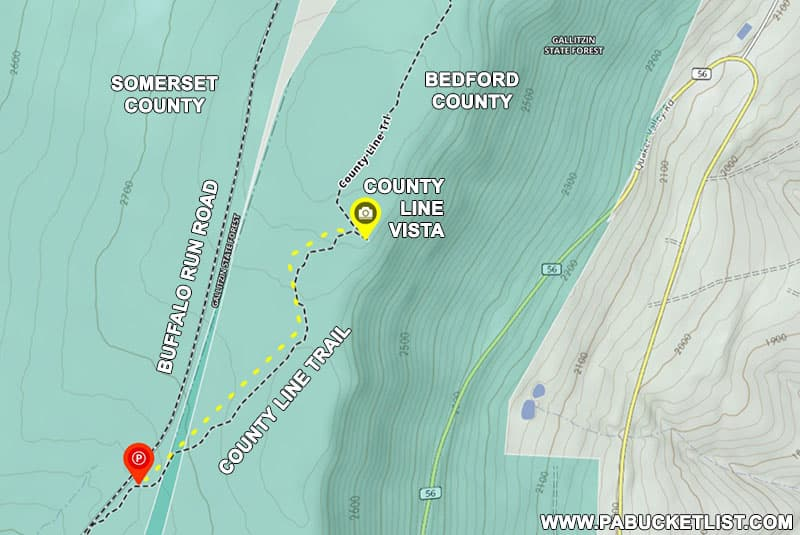 How to find County Line Vista in the Gallitzin State Forest in Pennsylvania.