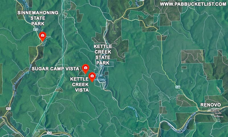Map to Kettle Creek State Park in Clinton County Pennsylvania.