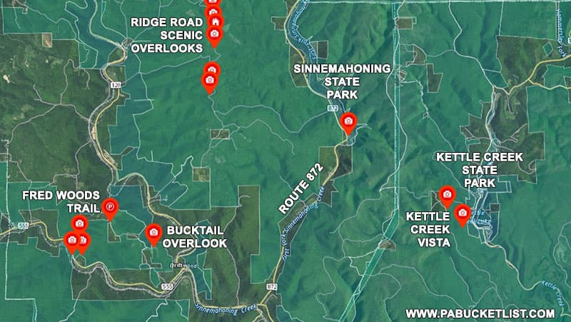 A map to Sinnemahoning State Park and surrounding attractions.