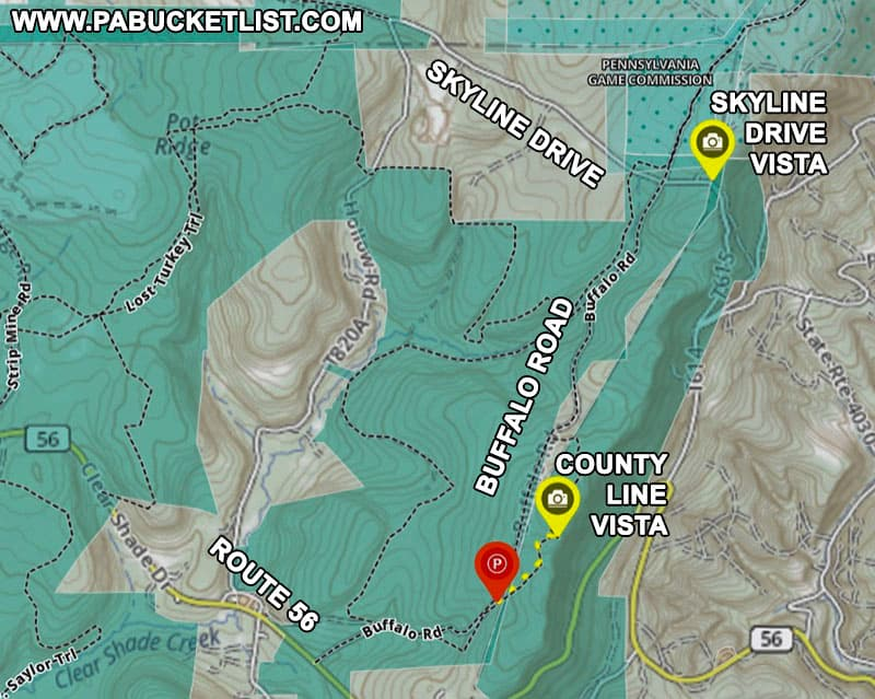 How to find Skyline Drive Vista in the Gallitzin State Forest.