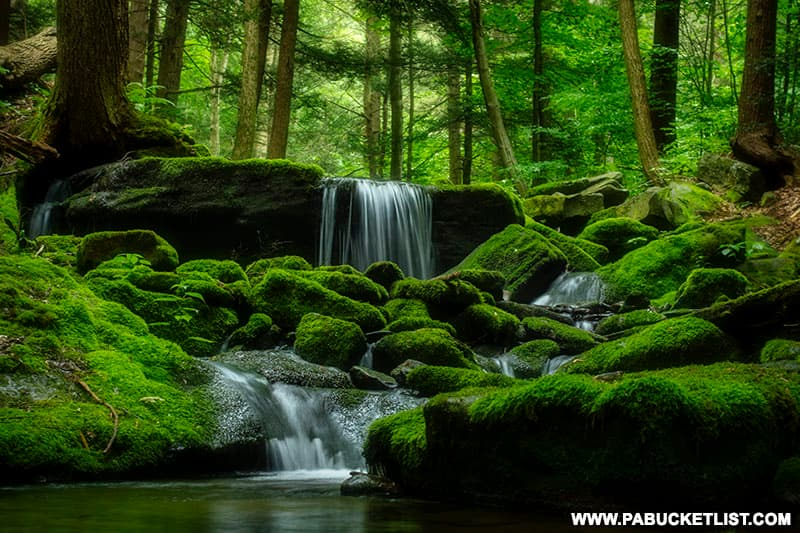 A summertime view of Mill Creek Falls in Westmoreland County Pennsylvania.