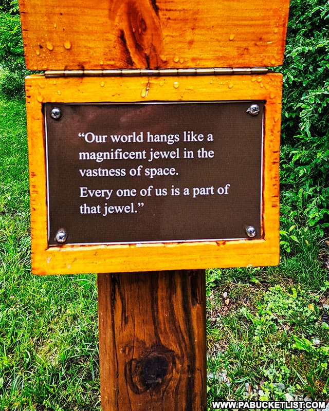 A quote from Mister Rogers along the Buttermilk Falls Trail in Indiana County.