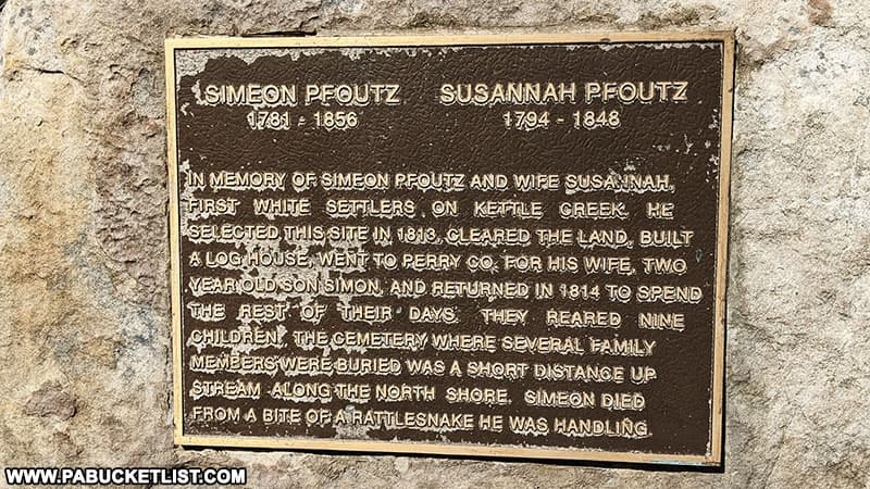 Memorial to the Pfoutz family who settled on land near present-day Kettle Creek State Park in 1813.