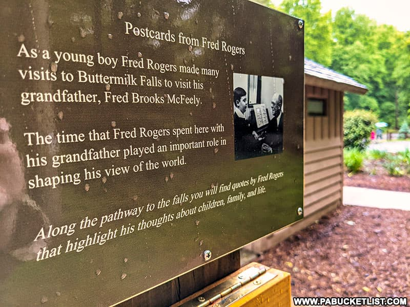 Fred Rogers AKA Mister Rogers spent many childhood summers at his Grandfather Fred McFeely's house at Buttermilk Falls.
