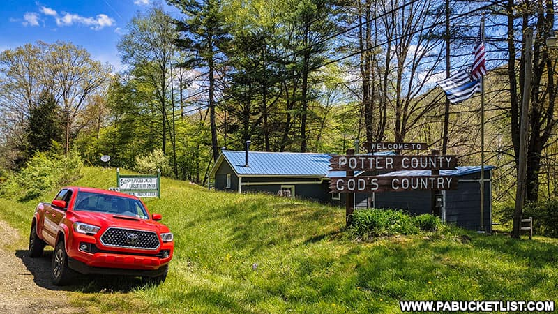 Potter County Gods Country sign along Route 872 near Sinnemahoning State Park.
