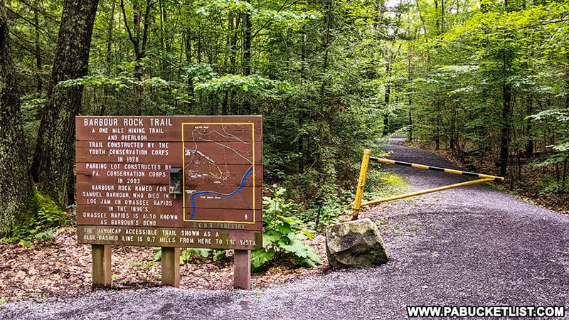 The Barbour Rock Trail Head along Colton Road in the PA Grand Canyon.
