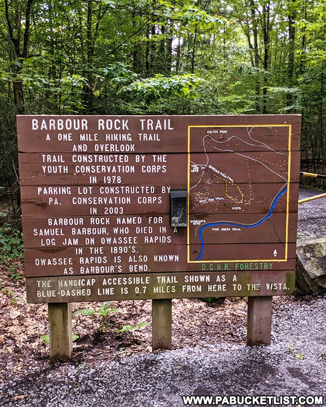 Barbour Rock Trail sign along Colton Road in Tioga County.