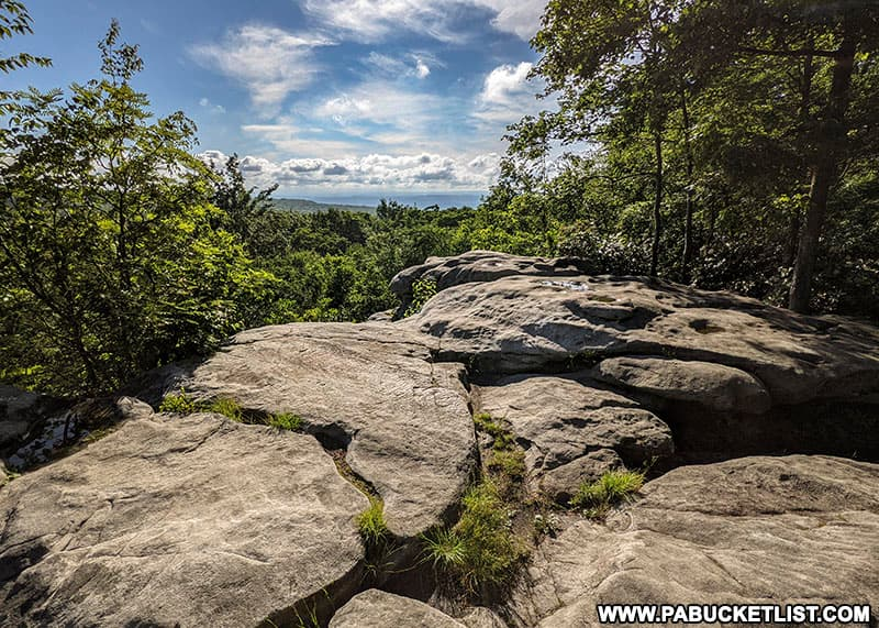 Beam Rocks Overlook in the Forbes State Forest on a summer morning.