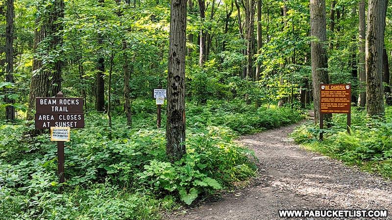 The Beam Rocks trail head in Somerset County Pennsylvania.