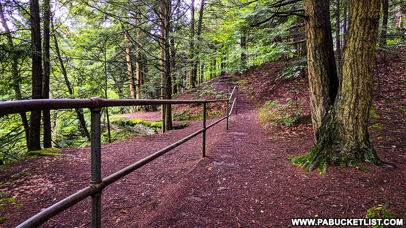 The Fall Brook Falls Trail in Tioga County above the waterfalls themselves.