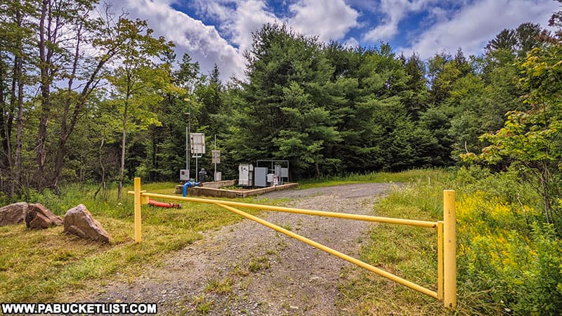 Gate at the Fall Brook Falls trailhead along River Road in Tioga County.