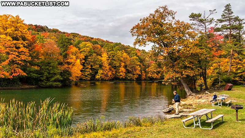 Fishing at Kooser State Park in Somerset County.