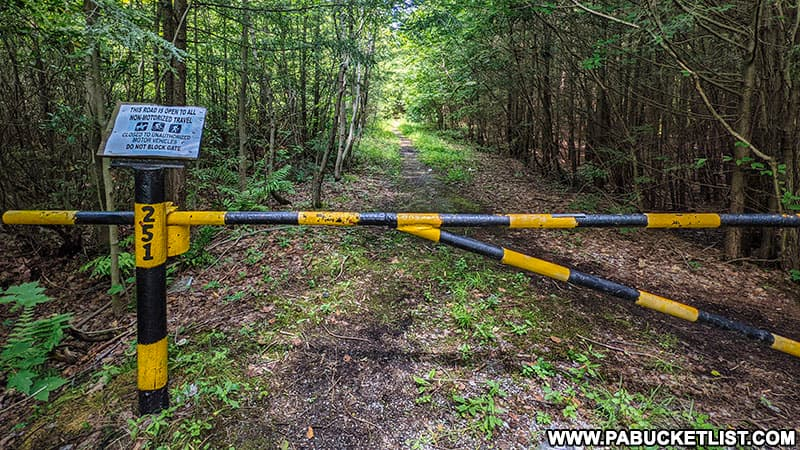 Gate 251 in the Quehanna Wild Area protecting the road to the abandoned nuclear jet engine testing bunkers.