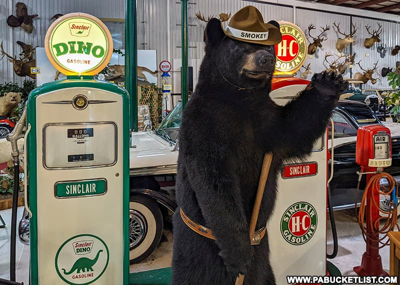 Smokey the Bear greeting visitors to the Grice Museum in Clearfield.