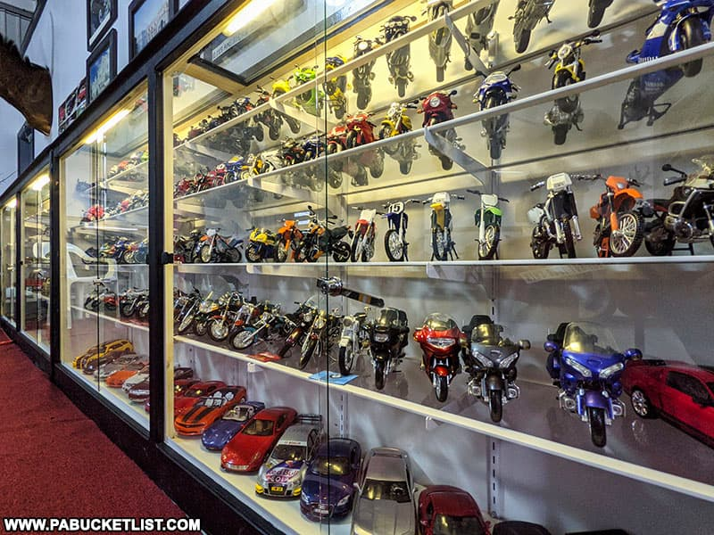 Diecast cars and motorcycles on display at the Grice Museum in Clearfield.