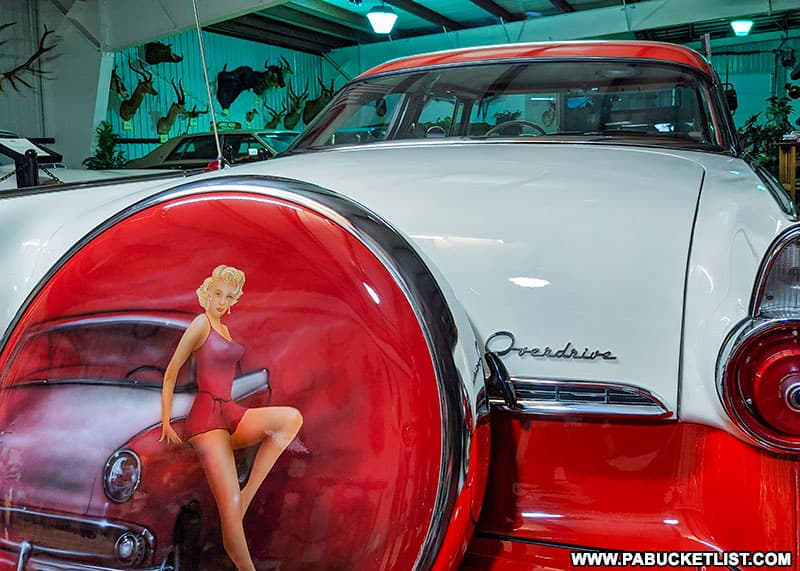 Pin-up airbrush art on one of the vintage cars at the Grice Museum in Clearfield PA