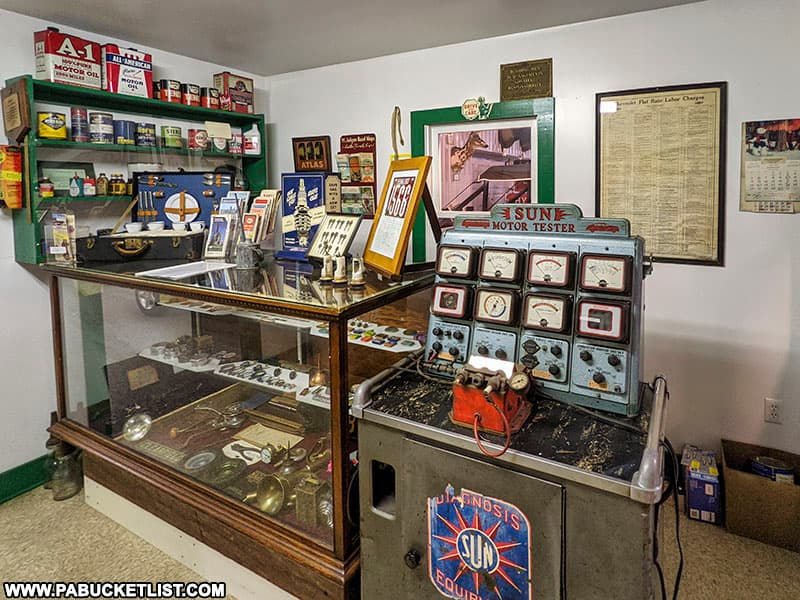 Vintage automotive repair tools and supplies at the Grice Museum in Clearfield PA