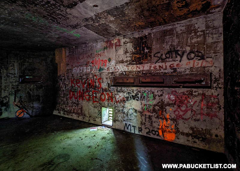Interior of one of the abandoned Quehanna nuclear jet engine testing bunkers.