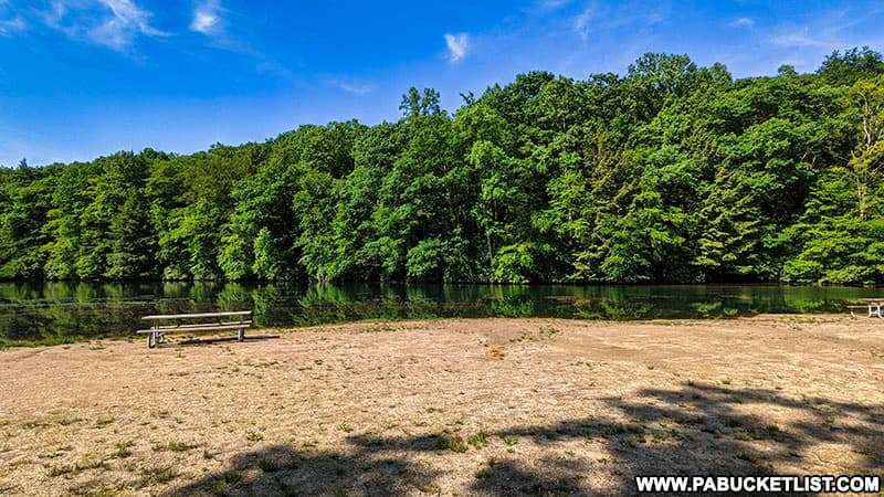 The beach at Kooser State Park in Somerset County Pennsylvania