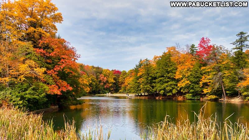 Fall foliage at Kooser Lake in Somerset County.