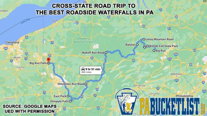 How to find the 10 best roadside waterfalls in Pennsylvania.