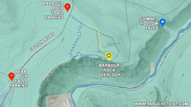 A map to Barbour Rock Overlook in the PA Grand Canyon.