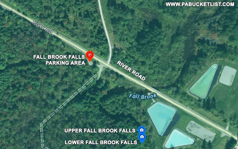 A map to Fall Brook Falls along River Road in Tioga County Pennsylvania.