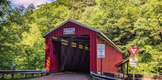 McConnells Mill Covered Bridge over Slippery Rock Creek in Lawrence County Pennsylvania.