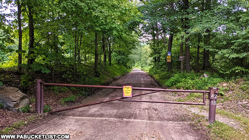 The gate at the Mill Creek Falls trail head on State Game Lands 42 in Westmoreland County.