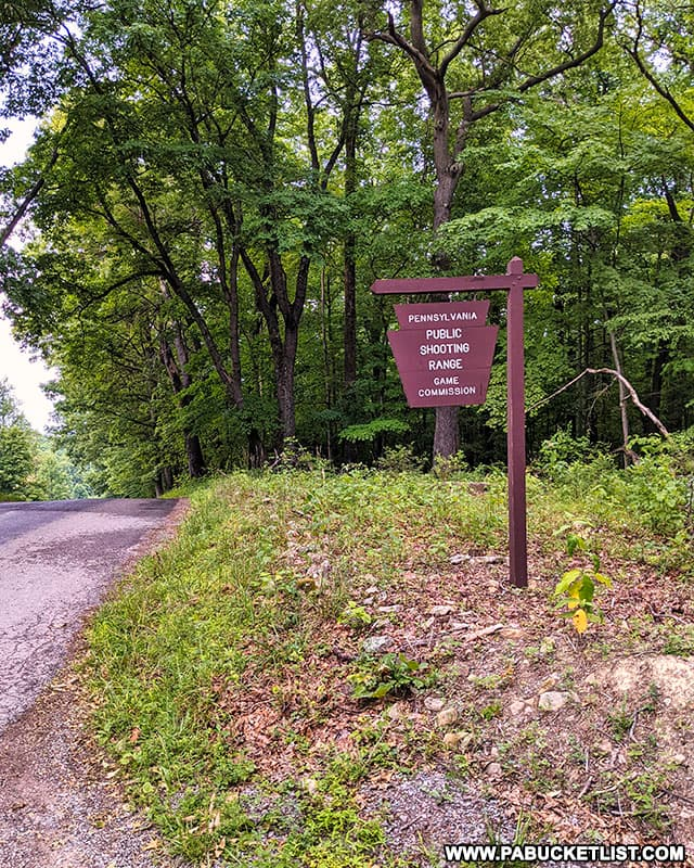 Entrance to the shooting range on State Game Lands 42 in Westmoreland County Pennsylvania
