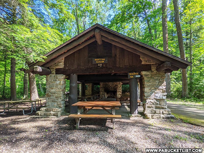 Picnic pavilion at Kooser State Park in Somerset County Pennsylvania