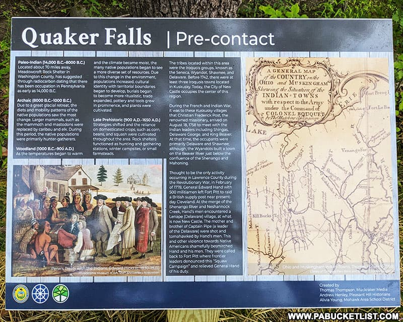 History of the region surrounding Quaker Falls in Lawrence County.