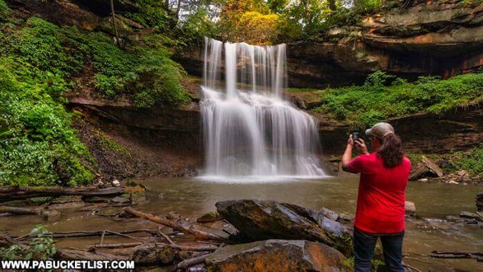 Exploring Quaker Falls in Lawrence County Pennsylvania.