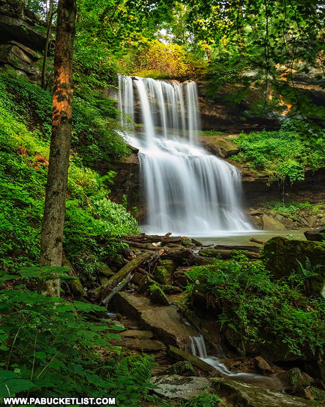 Downstream view of Quaker Falls, also known as Quakertown Falls in Lawrence County PA