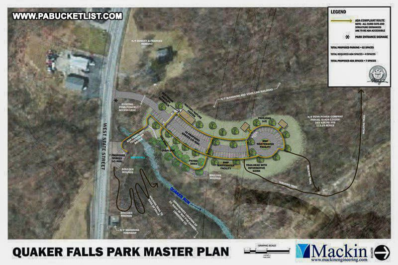 Master plan for Quaker Falls Recreation Area in Lawrence County Pennsylvania.