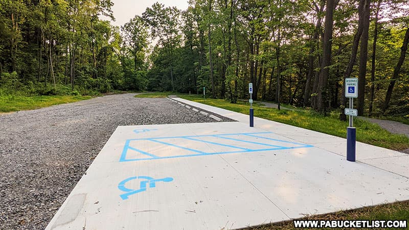 Parking lot at Quaker Falls Recreation Area in Lawrence County.