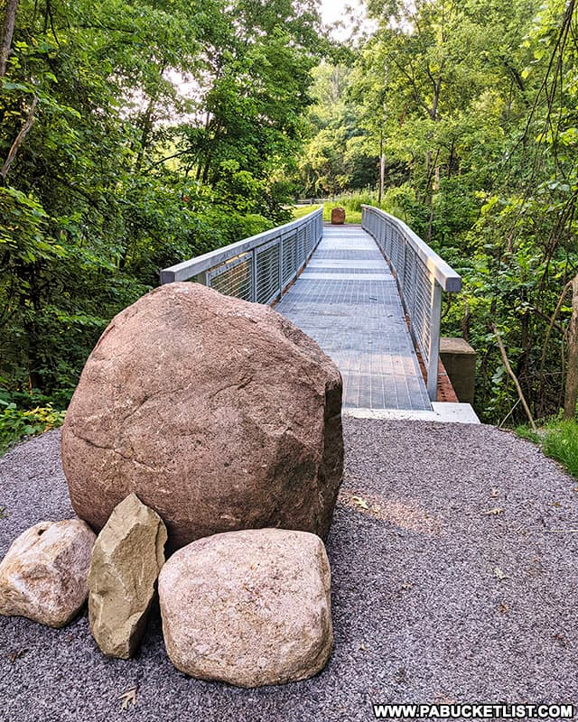 Pedestrian bridge above Quaker Falls in Lawrence County.