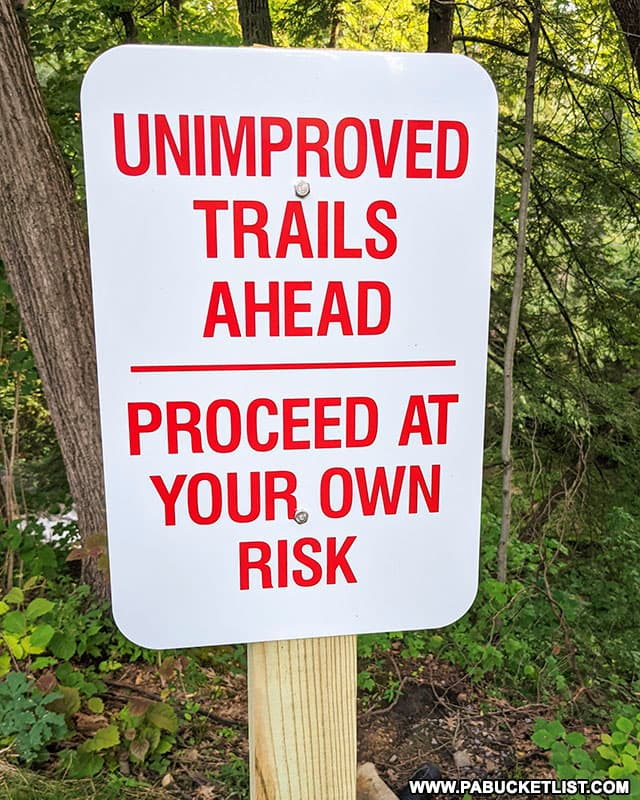 Unimproved trail marker at Quaker Falls Recreation Area in Lawrence County PA