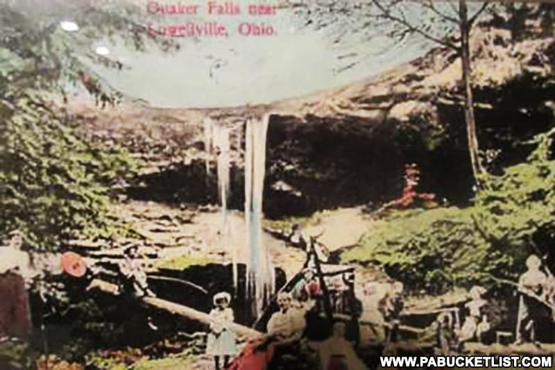 Vintage postcard image of Quaker Falls in Lawrence County Pennsylvania.