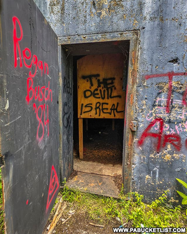 Entering one of the abandoned nuclear jet engine testing bunkers in the Quehanna Wild Area.