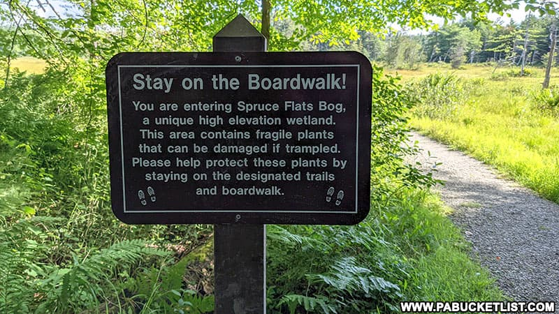 A trail sign near Spruce Flats Bog in Westmoreland County.