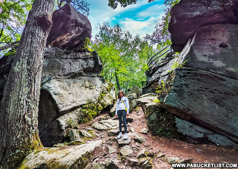 One of the many trails through the boulder formations at Beartown Rocks in the Clear Creek State Forest.