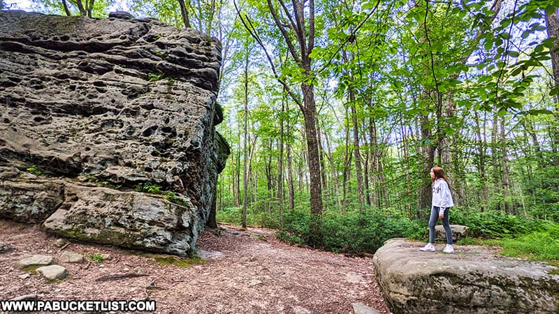 Hiking at Beartown Rocks in the Clear Creek State Forest.