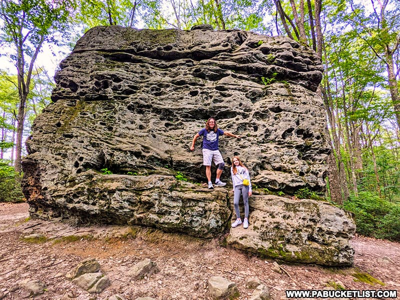 Climbing on boulders at Beartown Rocks in Jefferson County, Pennsylvania.