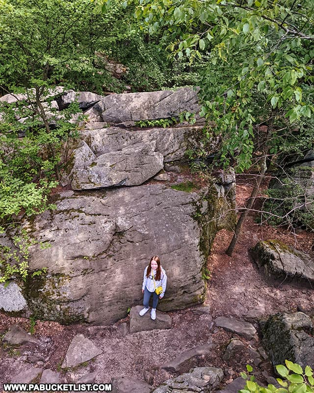 Looking straight down from the Beartown Rocks Overlook in Jefferson County.