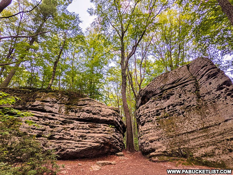 Two of the larger boulders at Beartown Rocks in Jefferson County, Pennsylvania.