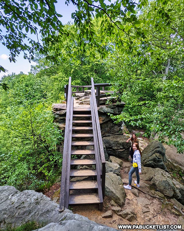 Stairway to the Beartown Rocks Overlook in Jefferson County.