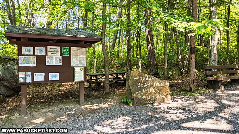 The trailhead and parking area at Beartown Rocks in the Clear Creek State Forest.